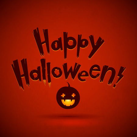 Happy Halloween Vector Illustration. Pumpkin Head with Hand Lettering Text. Red Scary Background. Illustration