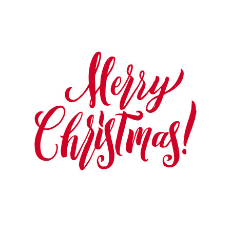 Merry Christmas Red Lettering Inscription, artistic written for greeting card, poster, print, web design and other decoration, handmade calligraphy vector illustration.