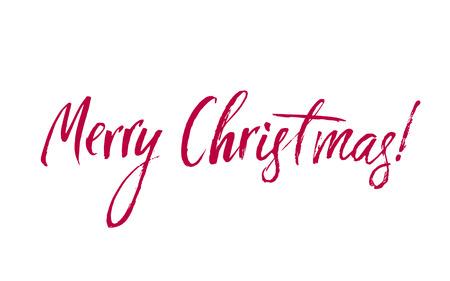 메리 크리스마스 레드 레터링 비문, 예술적 인사말 카드, 포스터, 인쇄, 웹 디자인 및 다른 장식, 수 제 서 예 벡터 일러스트 레이 션을 작성합니다.
