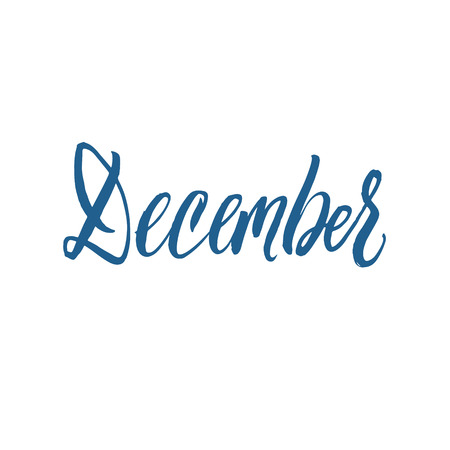 december background: December. Hand Drawn Calligraphy on White Background.