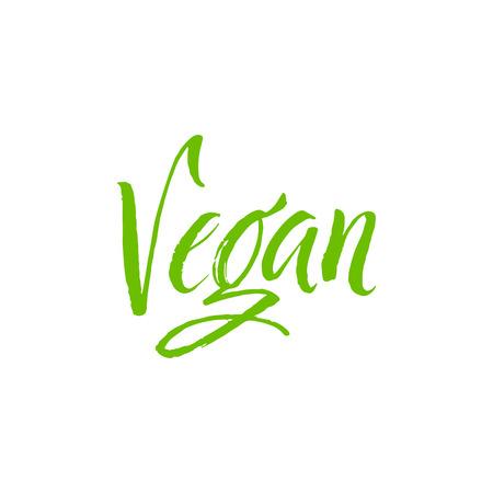 Vegan. Hand Drawn Calligraphy on White Background.