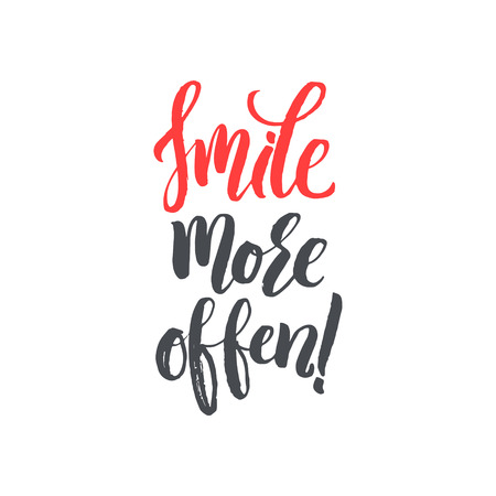 white smile: Smile More Often. Hand Drawn Calligraphy on White Background. Hand drawn typography poster. T shirt hand lettered calligraphic design. Inspirational vector typography