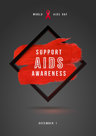 relaciones sexuales: Concepto Día Mundial del SIDA con el texto y la cinta roja de la conciencia del SIDA. 1 de diciembre. Movimiento rojo del cepillo del fondo del cartel gris.