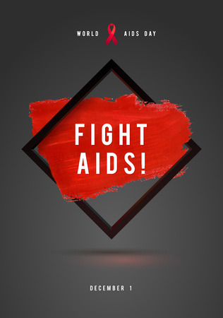aids awareness ribbon: World AIDS Day Concept with Text and red ribbon of AIDS awareness. 1st December. Red Brush Stroke Poster Grey Background. Illustration