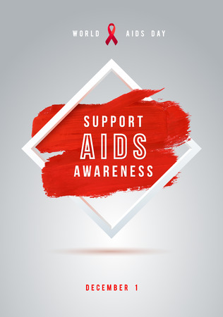 december background: World AIDS Day Concept with Text and red ribbon of AIDS awareness. 1st December. Red Brush Stroke Poster White Background.