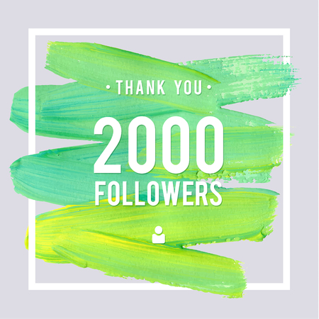 Vector thanks design template for network friends and followers. Thank you 2 K followers card. Image for Social Networks. Web user celebrates large number of subscribers or followers. Illustration