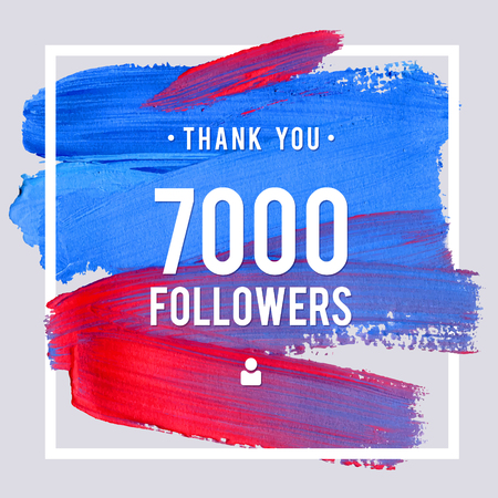 Vector thanks design template for network friends and followers. Thank you 7 K followers card. Image for Social Networks. Web user celebrates large number of subscribers or followers.