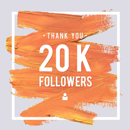 Vector thanks design template for network friends and followers. Thank you 20K followers card. Image for Social Networks. Web user celebrates large number of subscribers or followers. Illustration