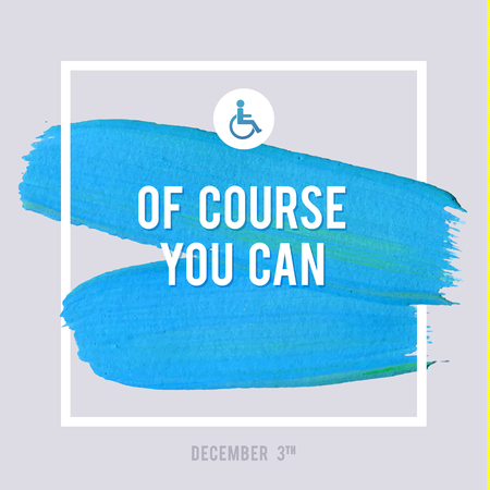 equal opportunity: World Disability Day Typography Watercolor Brush Stroke Design , vector illustration. Grunge Effect Important Poster. Illustration
