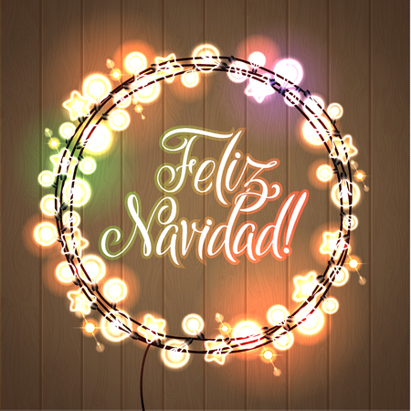 merry christmas and happy new year spanish language glowing christmas lights wreath for xmas