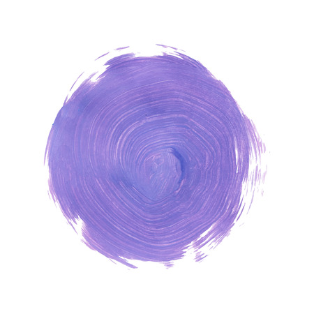Violet Abstract Circle Stroke. Colorful raster watercolor brush stroke. Vector illustration