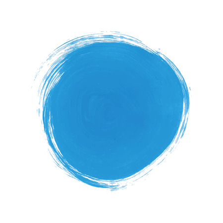 Blue Abstract Circle Stroke. Colorful raster watercolor brush stroke. Vector illustration