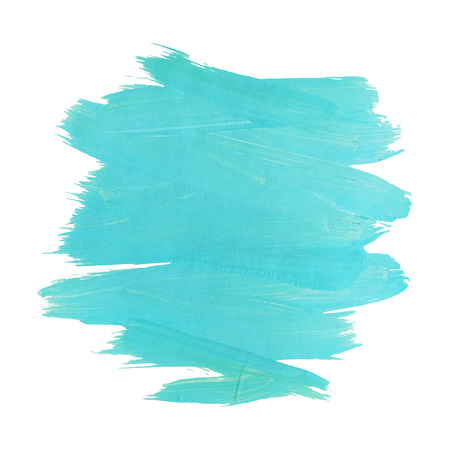 Blue turquise motion watercolor paint stain isolated on white background. Dynamic Brush Stroke. vector illustration.