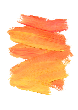 Brush stroke. Acrylic paint stain. Peach color stroke of the paint brush isolated on white. Vector Illustration.