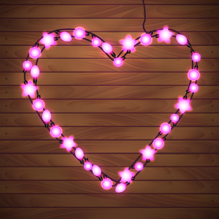 Happy Valentine`s Day. Wood Background with Bright Lights Garland Heart Shape.