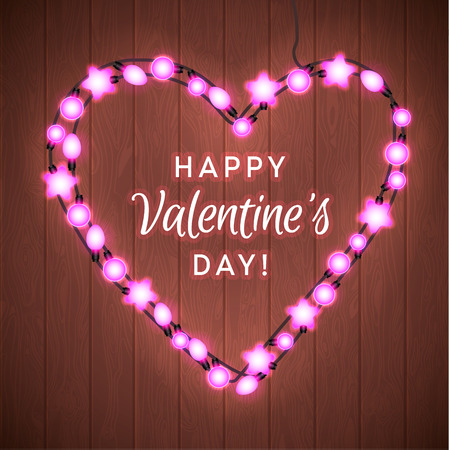 Happy Valentine`s Day. Wood Background with Bright Lights Garland. Illustration
