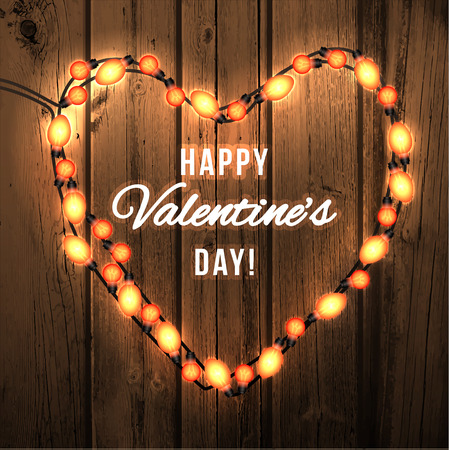 bright lights: Happy Valentine`s Day. Wood Background with Bright Lights Garland. Illustration