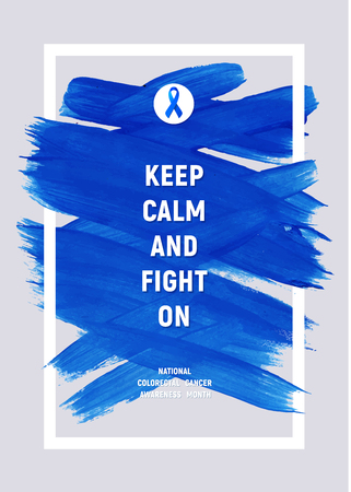 CLORECTAL Cancer Awareness Creative Grey and Blue Poster. Brush Stroke and Silk Ribbon Symbol. World Colon Cancer Awareness Month Banner. Blue stroke and text. Medical Design Çizim