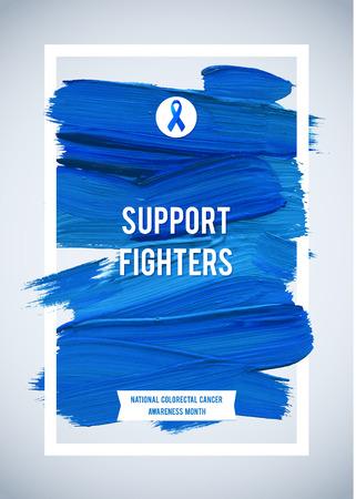 colorectal cancer: CLORECTAL Cancer Awareness Creative Grey and Blue Poster. Brush Stroke and Silk Ribbon Symbol. National Colon Cancer Awareness Month Banner. Brush Stroke and Text. Medical Vertical Design. Illustration
