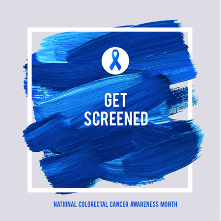 CLORECTAL Cancer Awareness Creative Grey and Blue Poster. Brush Stroke and Silk Ribbon Symbol. National Colon Cancer Awareness Month Banner. Brush Stroke and Text. Medical Square Design. Çizim