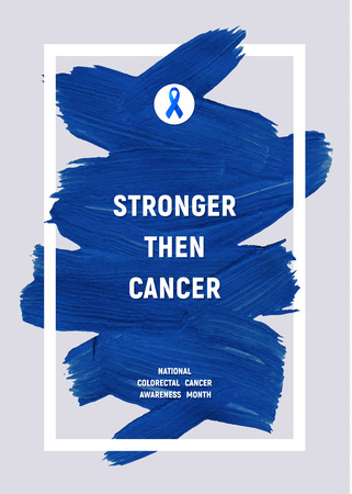 COORECTAL Cancer Awareness Creative Grey and Blue Poster. Brush Stroke and Silk Ribbon Symbol. National Cancer areness Month Banner. Blue stroke and text. Medical Design. Çizim