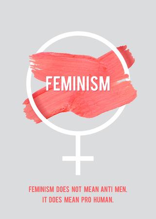 humanismo: Stroke cartel Feminismo. Símbolo femenino con el texto. Concepto del vector de la mujer. Pro cartel vertical humano.