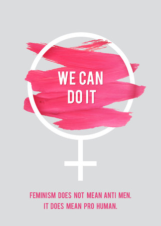 Stroke Poster Feminism. Female Symbol with Text. Womans Vector Concept. Pro Human Vertical Poster.