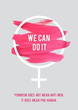 Stroke Poster Feminism. Weibliches Symbol mit Text. Frau Vektor-Konzept. Pro Mensch Vertikale Plakat. Standard-Bild - 73193476