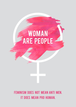 domestic violence: Stroke Poster Feminism. Female Symbol with Text. Womans Vector Concept. Pro Human Vertical Poster.