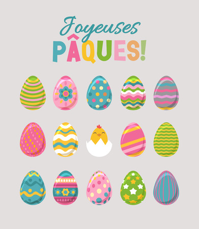 Happy Easter set. Painted Eggs Bunny and Chicken. French Typography. Illustration