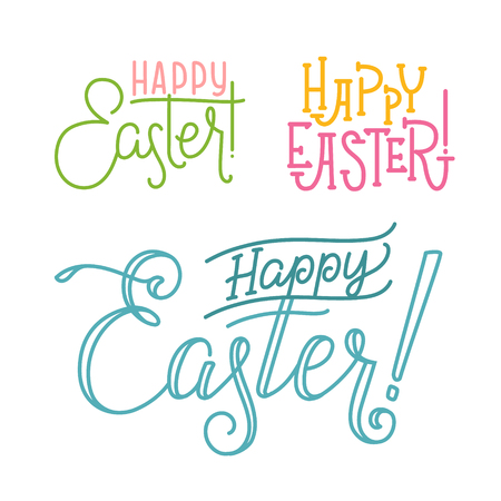 godness: Happy Easter Greeting Calligraphy Set. Typographyic Design Templates Illustration