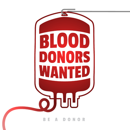 Creative Blood Motivation Information Donor Poster. Blood Donation. World Blood Donor Day banner. Red Blood Bag and Text. Medical design elements. Be a donor