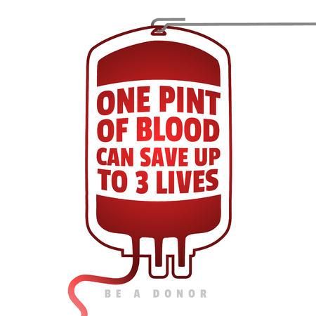 Kreatives Blut Motivation Information Spender Poster. Blutspende. World Blood Donor Day Banner. Red Blood Bag und Text. Medizinische Design-Elemente. Sei ein Spender