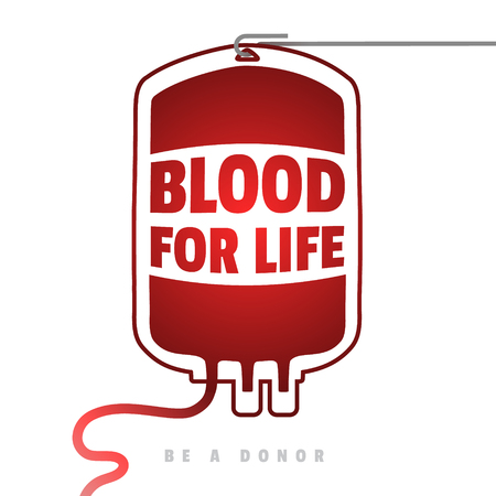 give: Creative Blood Motivation Information Donor Poster. Blood Donation. World Blood Donor Day banner. Red Blood Bag and Text. Medical design elements. Be a donor