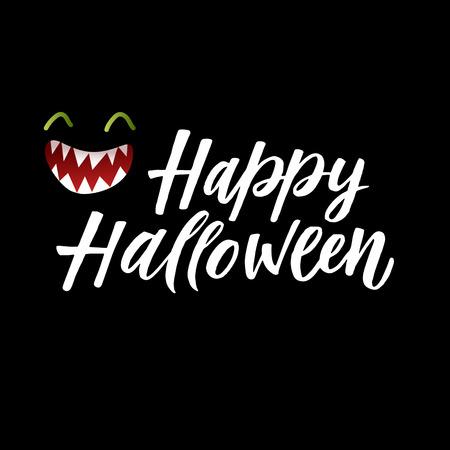 Fröhliches Halloween . Vektor-Grußkarte mit einer Silhouette des Kiefers auf einem schwarzen Hintergrund Standard-Bild - 88316759