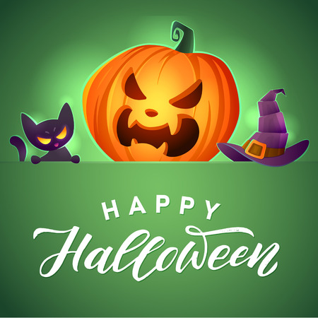 Happy Halloween. Vector greeting card. Angry kitten. Scary pumpkin and mystic hat.