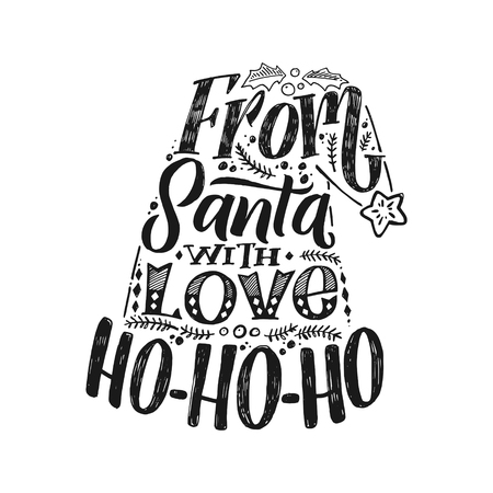 Merry Christmas typography, handwriting poster White Backgound Illustration