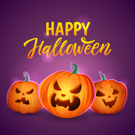 Happy halloween Pumpkins. Vector greeting card. Mystical Halloween pumpkins. Ilustração