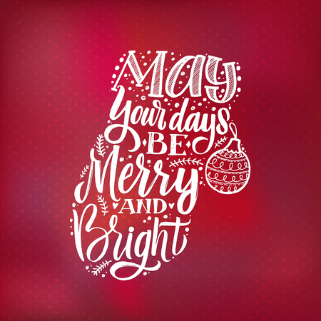 Merry Christmas typography, handwriting poster Red background.