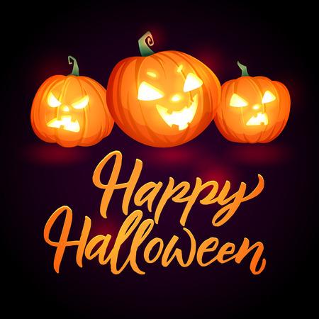 Halloween Pumpkins Vector Poster. Glowing pumpkins. Greeting card Happy halloween. Illustration