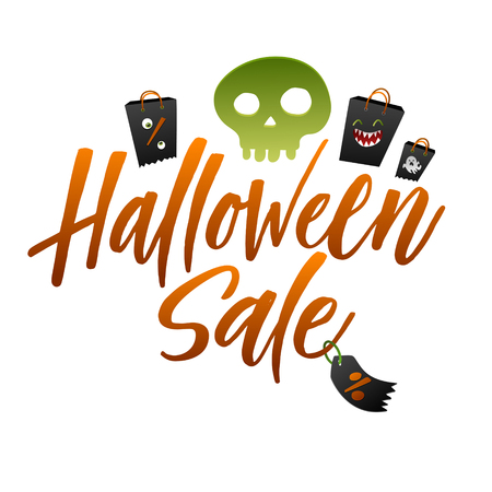 Halloween Sale vector banner with lettering and holiday symbols skull ans black paper bags.
