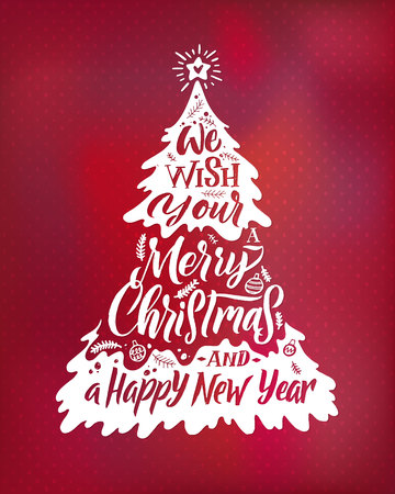 Merry Christmas Lettering Fur Tree, Hand Writed Poster Red background.