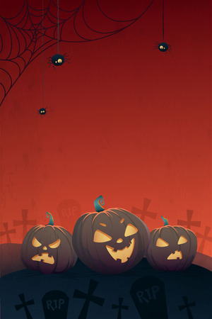 Happy Halloween Vertical Poster. Angry Pumpkins and Spider Bat, Space for your Text. Vector Background