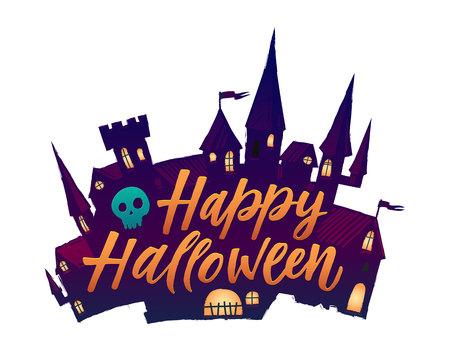Halloween Scary Castle. Vector illustration Happy halloween Illustration