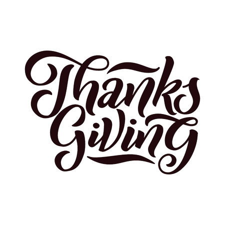 Vector illustration Hand lettering modern brush pen text of Happy Thanksgiving Day isolated on white background. Handmade calligraphy