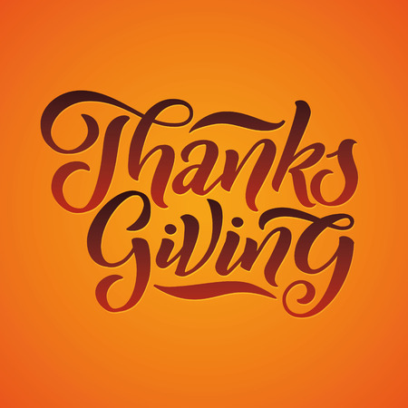 Vector illustration: Hand lettering modern brush pen text of Happy Thanksgiving Day isolated on white background. Handmade calligraphy.