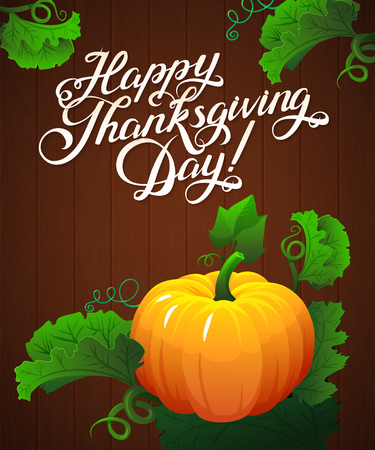 Happy Thanksgiving day leaves  and pumpkin banner on wood background. pumpkin vegetable with green leaves vector illustration Ilustração