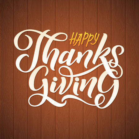 Happy Thanksgiving Day hand-lettering text. Handmade vector calligraphy on Wood Background with Pumpkins. Illustration