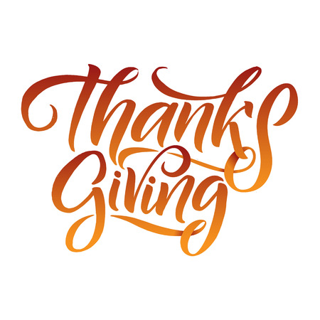 Thanksgiving Typography Poster. Celebration Huote Happy Thanksgiving for Holiday Postcard. Calligraphic logo or badge on White Background.