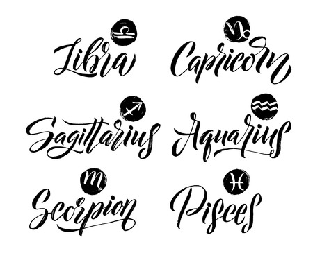 Calligraphy Zodiac Signs Set. Hand drawn horoscope astrology symbols, letterings grunge texture design, vector illustration white background.